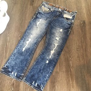 Men's Rock Revival Ripped Jeans! Slim boot